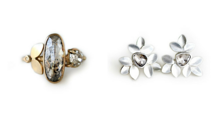 Beautiful Salt and Pepper diamond ring and diamond earrings made by Katie Carder Fine Jewelry.