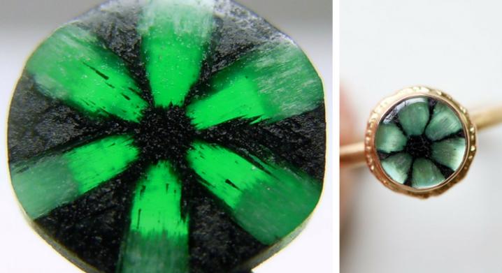 Raw Trapiche Emerald and Trapiche Emerald Ring