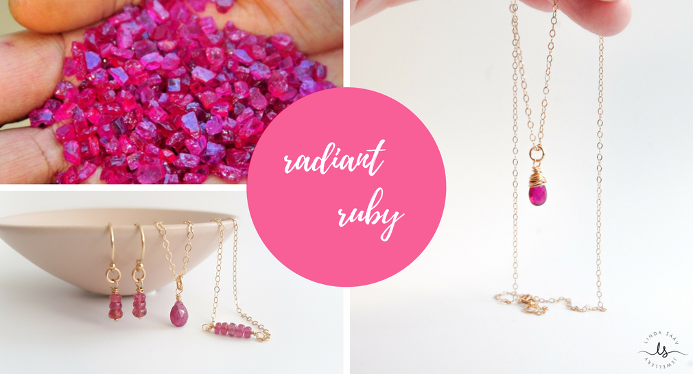 The radiant ruby, the July birthstone, the queen of gems. A blog post written by Linda Sääv from Linda Sääv Jewellery.