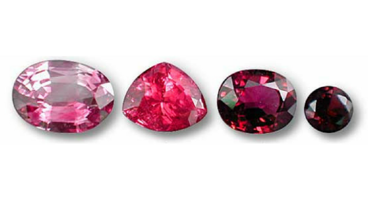 Rubies with same hue but different saturation and tone